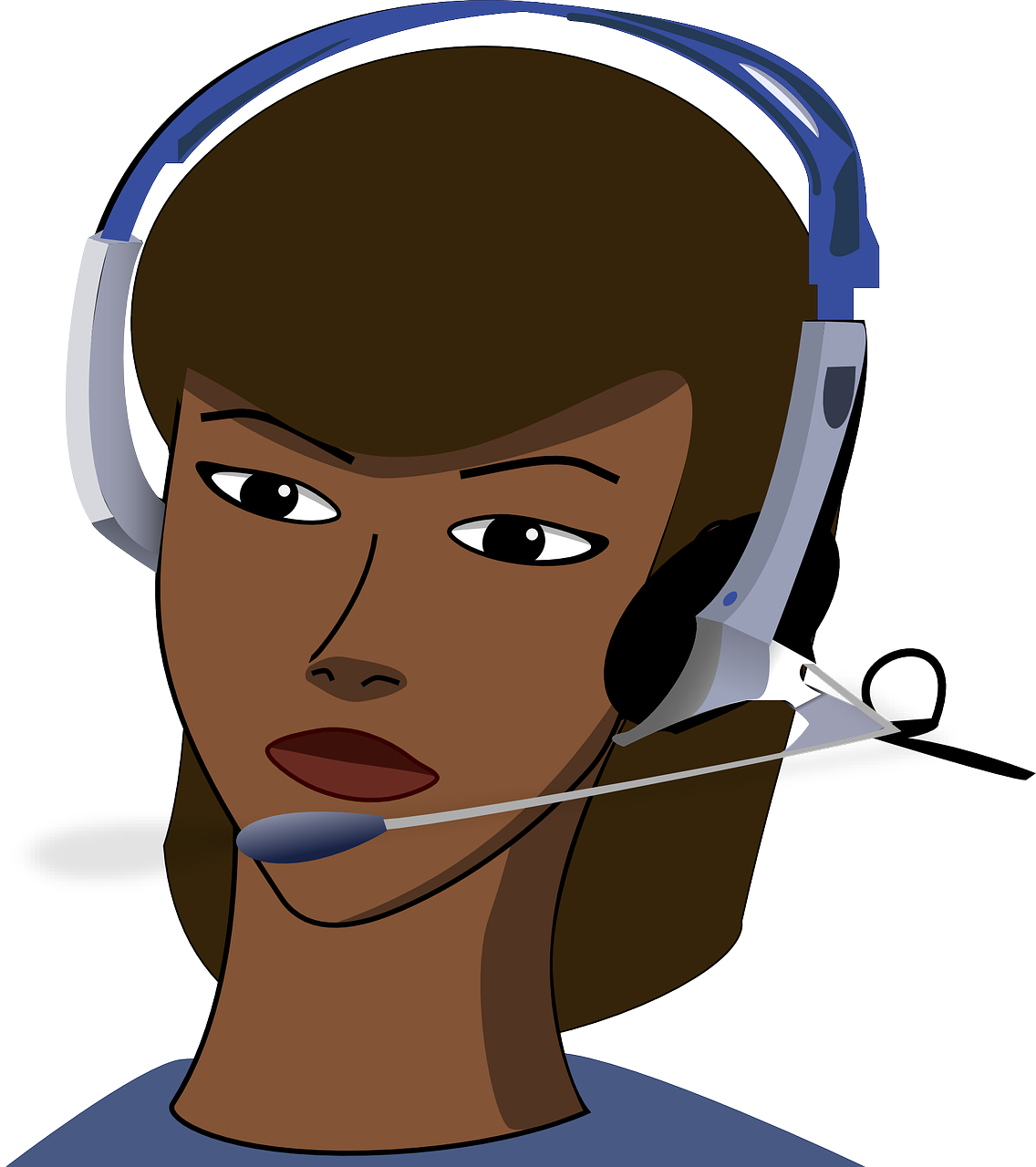 Drawing of a woman working in a call center